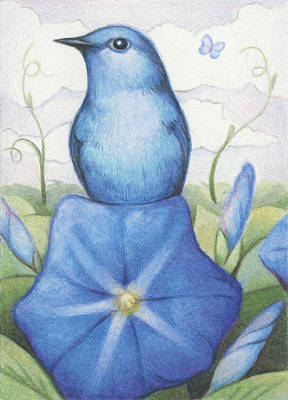 Indigo Drawing - Blue On Blue by Amy S Turner