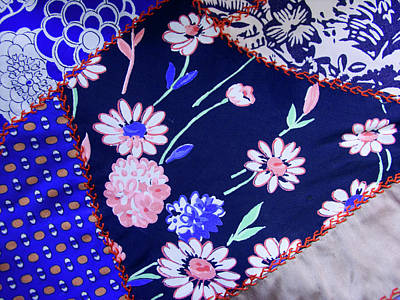 Floral Fabric Photograph - Blue On Blue by Bonnie Bruno