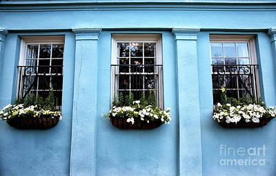 Old School House Photograph - Blue On Rainbow Row by John Rizzuto