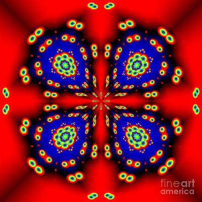 Computer Art Digital Art - Blue On Red Fractal Mandala by Marv Vandehey