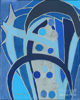 Painting - Blue On Silver by Ania M Milo
