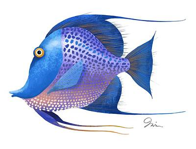 Tropical Fish Digital Art - Blue On White by Trevor Irvin