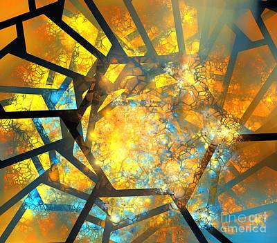 Digital Art - Blue Orange Honeycomb by Kim Sy Ok
