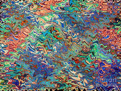 Photograph - Blue Orange Liquid Zigzag by Karen Adams