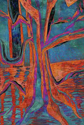 Painting - Blue-orange Warm Dusk River Tree by Gecko Joy