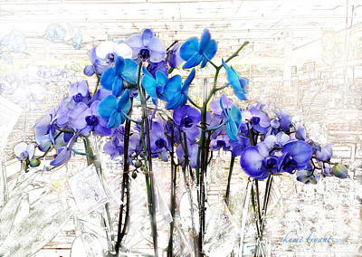 Mixed Media - Blue Orchids 3 by Kume Bryant