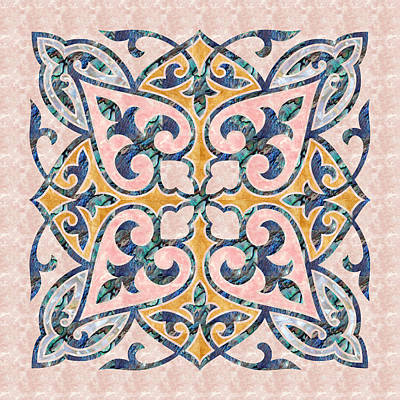 Blue Oriental Tile 01 Art Print