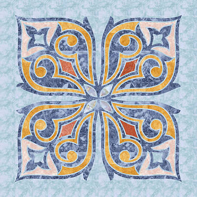 Blue Oriental Tile 04 Art Print