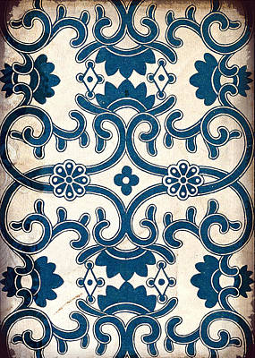 Painting - Blue Oriental Vintage Tile 02 by Aloke Creative Store