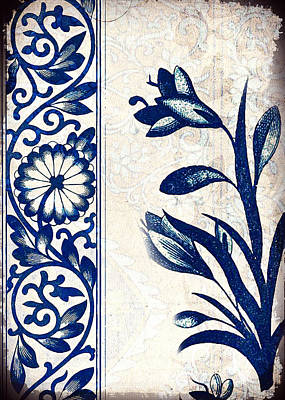 Painting - Blue Oriental Vintage Tile 03 by Aloke Creative Store