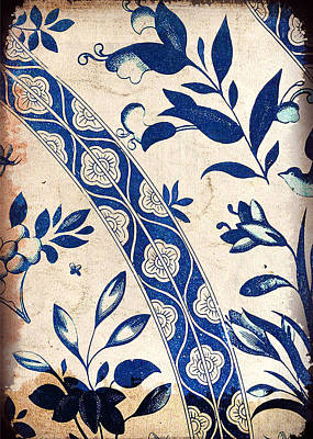 Painting - Blue Oriental Vintage Tile 04 by Aloke Creative Store