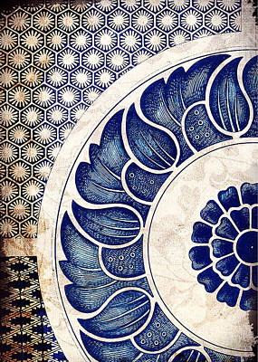 Painting - Blue Oriental Vintage Tile 05 by Aloke Creative Store