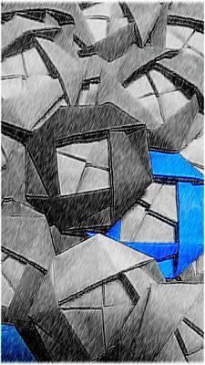 Flower Digital Art - Blue Origami Rose by Kumiko Izumi