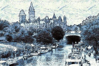 Drawing - Blue Ottawa Skyline by Art America Gallery Peter Potter