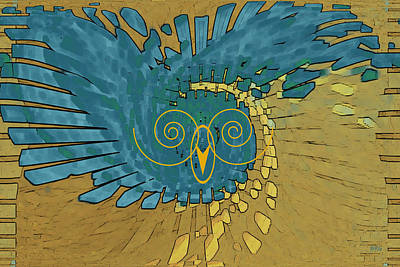 Digital Art - Abstract Blue Owl by Ben and Raisa Gertsberg