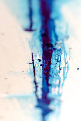 Photograph - Blue Paint Stain Abstract by John Williams