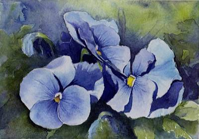 Painting - Blue Pansies by Kathy Nesseth