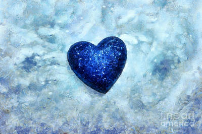 Abstract Hearts Photograph - Blue Passion by Krissy Katsimbras