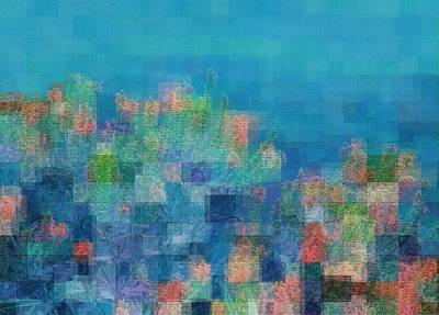 Digital Art - Blue Patchwork Garden by Ellen Barron O'Reilly