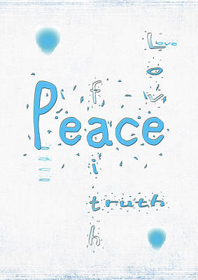 Digital Art - Blue Peace by Linda Prewer