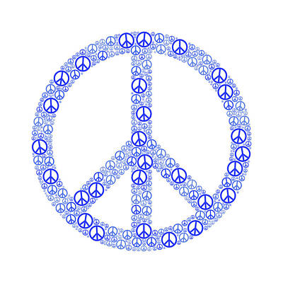 Blue Peace Sign Print by Peter Hermes Furian