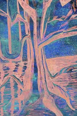 Painting - Blue-peach Dawn River Tree by Gecko Joy
