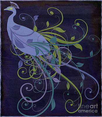 Birds Painting Rights Managed Images - Blue Peacock Art Nouveau Royalty-Free Image by Mindy Sommers