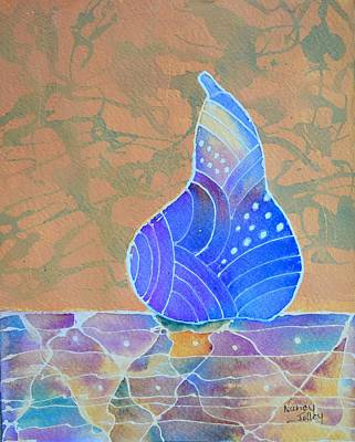 Painting - Blue Pear by Nancy Jolley