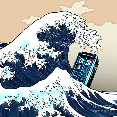 blue Phone booth vs the great wave Art Print by Three Second