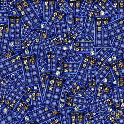 Fandom Drawing - Blue Phone Box Pattern by Lugu Poerawidjaja