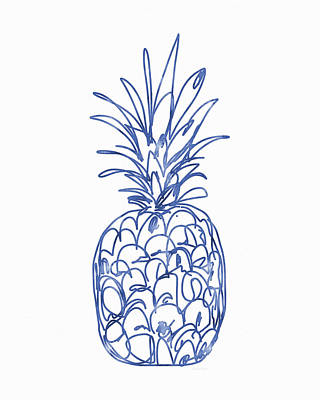 Blue Pineapple- Art By Linda Woods Art Print by Linda Woods