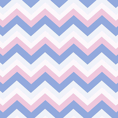 Chevron Mixed Media - Blue Pink Chevron Pattern by Christina Rollo
