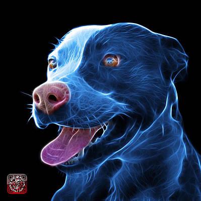 Blue Pit Bull Fractal Pop Art - 7773 - F - Bb Art Print