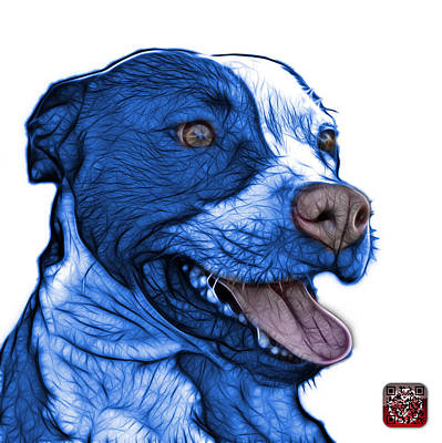 Mixed Media - Blue Pit Bull Fractal Pop Art - 7773 - F - Wb by James Ahn