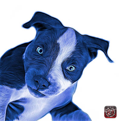 Painting - Blue Pitbull Dog Art 7435 - Wb by James Ahn