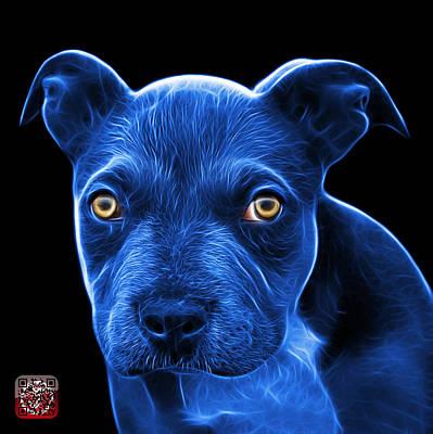 Painting - Blue Pitbull Puppy Pop Art - 7085 Bb by James Ahn