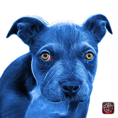Painting - Blue Pitbull Puppy Pop Art - 7085 Wb by James Ahn