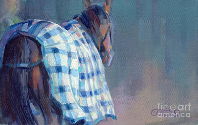 Bay Thoroughbred Painting - Blue Plaid by Kimberly Santini