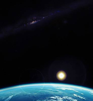 Nature Digital Art - Blue Planet, The Sun And Milky Way By Adam Asar 2 by Adam Asar