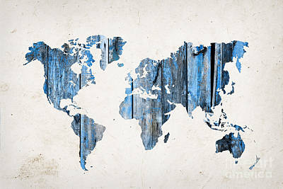 Creation Photograph - Blue Planks World Map by Delphimages Photo Creations