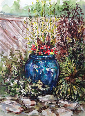 Painting - Blue Planter by Lynne Haines