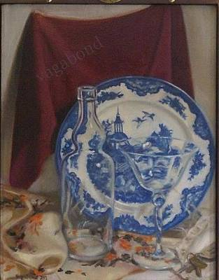 Painting - Blue Plate Still Life by Suzn Art Memorial