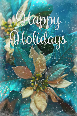 Photograph - Blue Poinsettia - Happy Holidays by Teresa Wilson