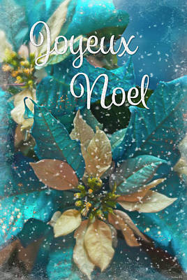 Photograph - Blue Poinsettia - Joyeux Noel by Teresa Wilson