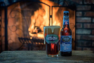 Beer Photos - Blue Point Winter Ale By The Fire by Rick Berk