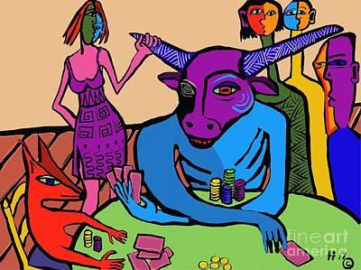 Digital Art - Blue Poker Bull by Hans Magden