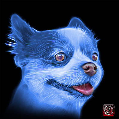 Painting - Blue Pomeranian Dog Art 4584 - Bb by James Ahn
