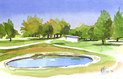 Blue Pond At The A V Country Club Art Print by Kip DeVore