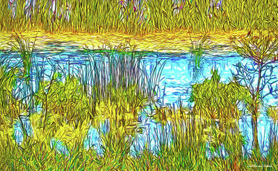 Digital Art - Blue Pond Day -- Lake In Boulder Colorado by Joel Bruce Wallach