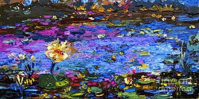 Mixed Media - Blue Pond Modern Impressionist Painting By Gin by Ginette Callaway
